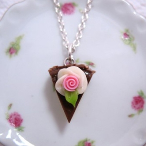 Slice of Chocolate Cake Necklace